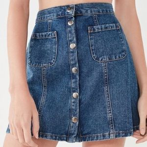 Urban Outfitters • BDG Snap Front Denim Mini Skirt